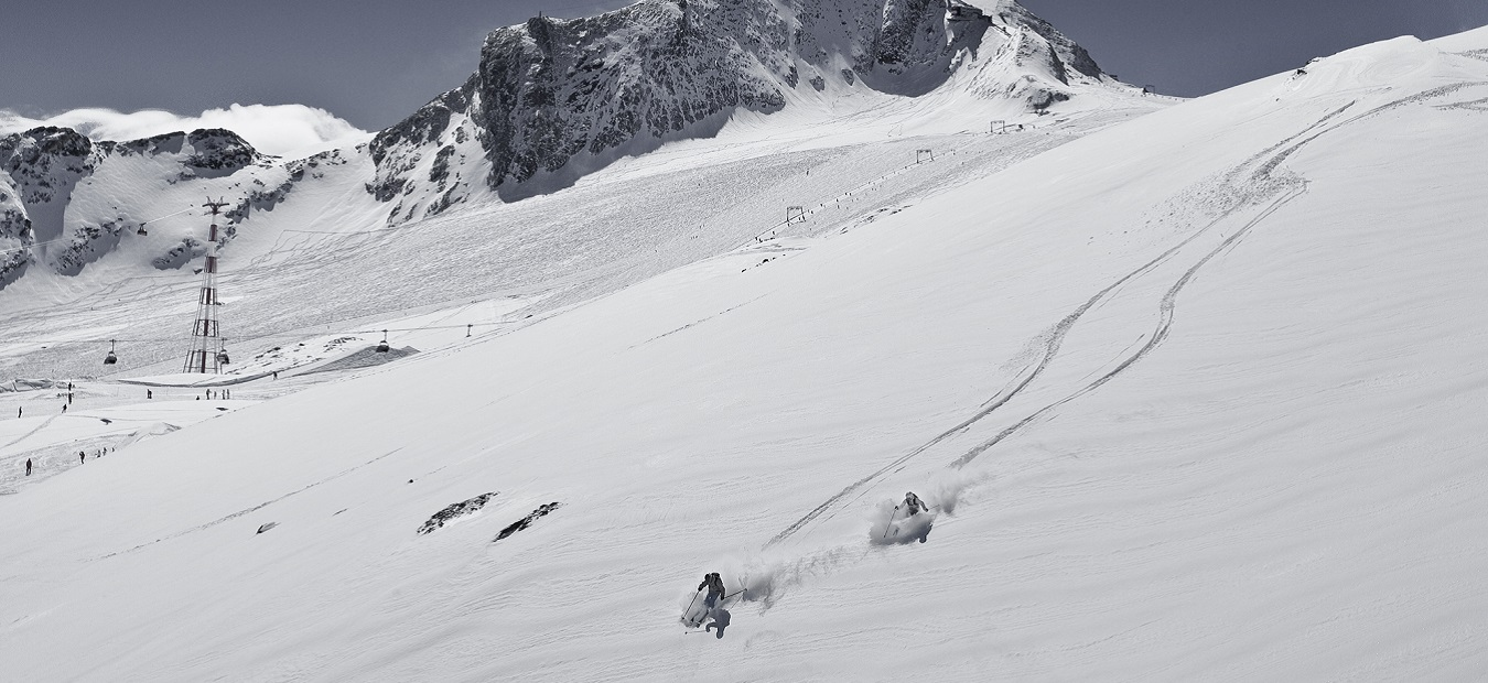 Skiers and tracks in powder