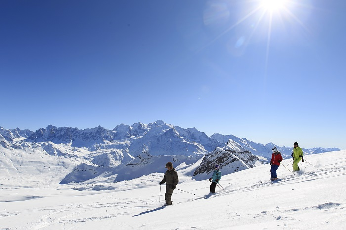Skiers on the pistes of Flaine