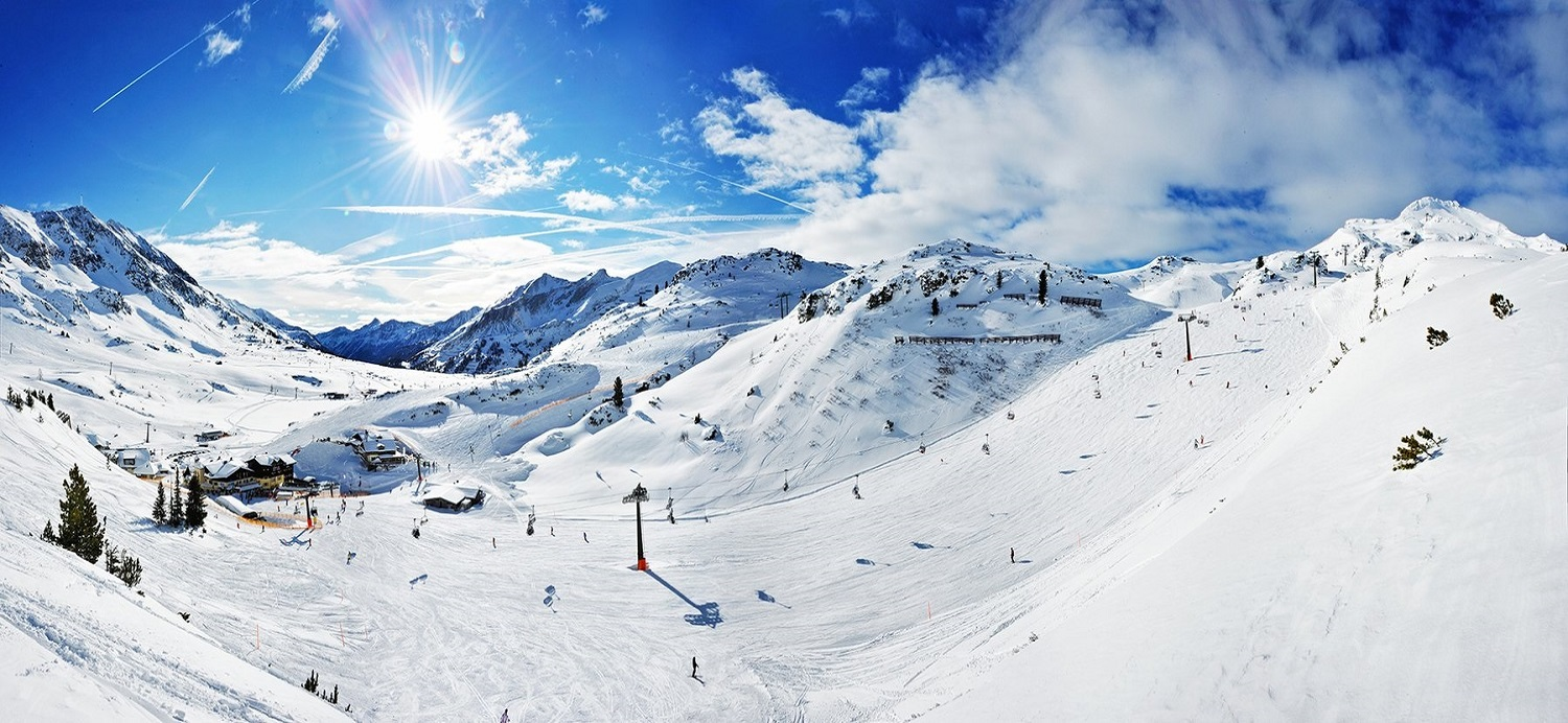Panorama of snow covered slopes