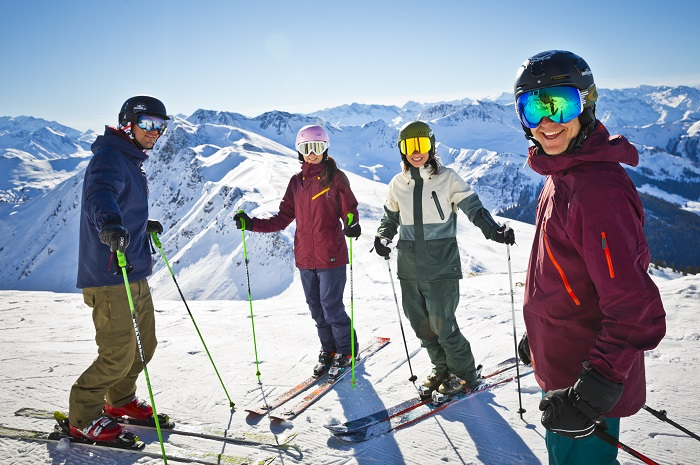 Smiling group on the slopes