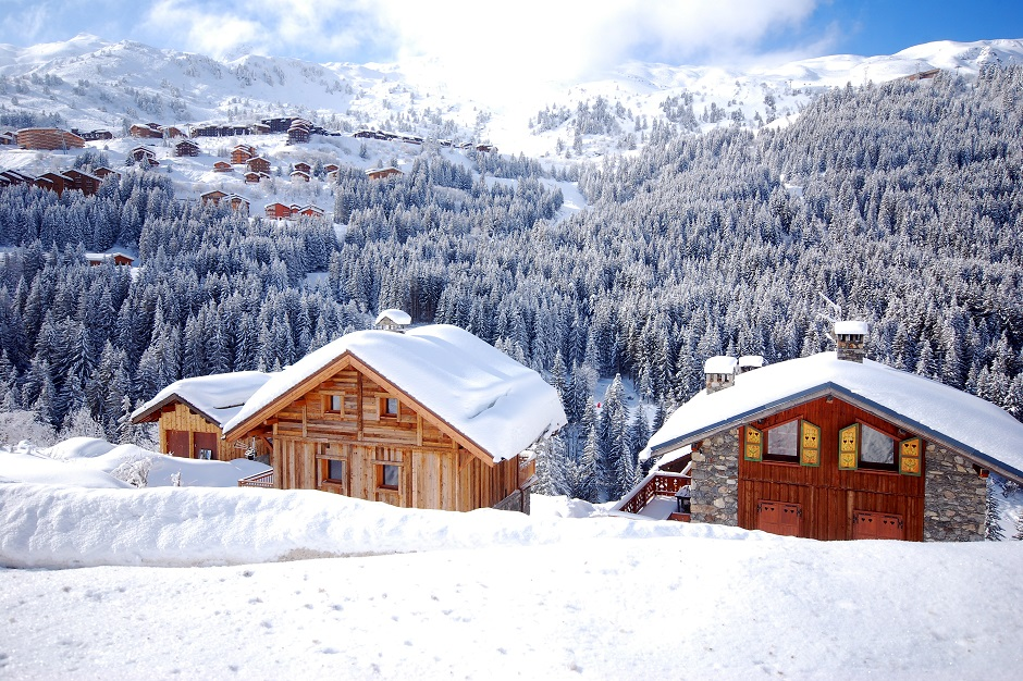 Snow covered chalets in Meribel Mottaret