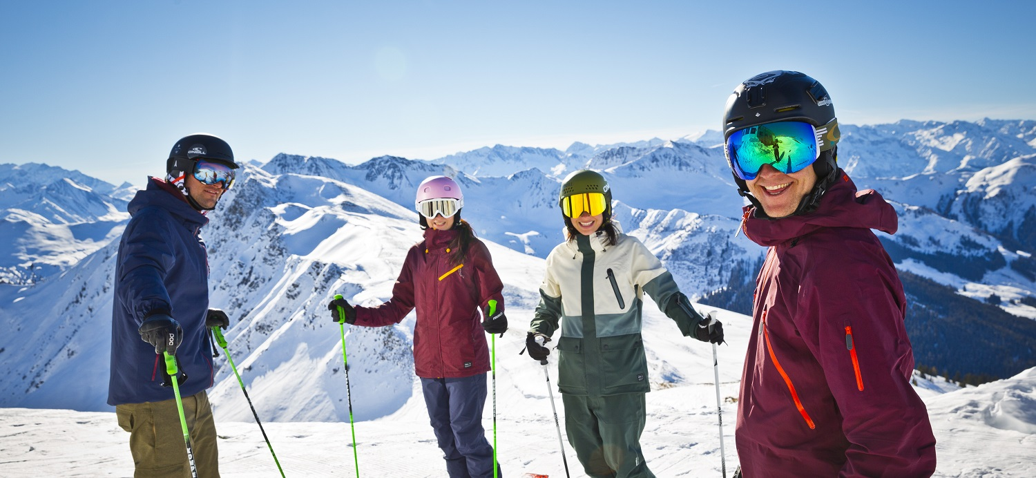 Smiling group of skiers