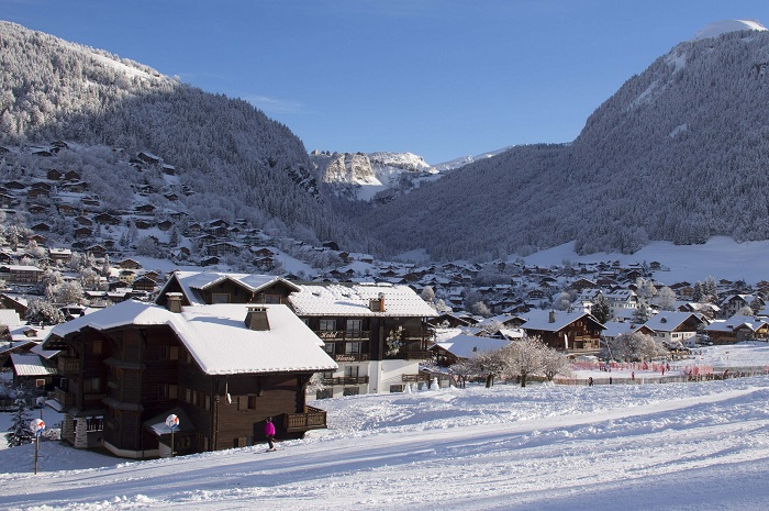 snow covered valley town