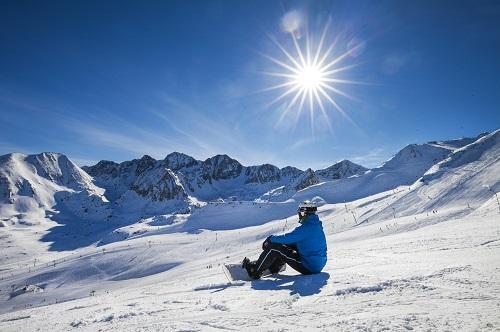 Snowboarder sat on the Soldeu slopes