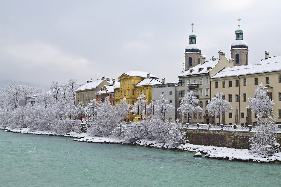Icy Innsbruck and the river