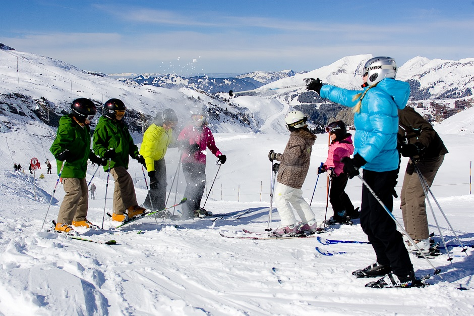 Group of skiers on the Morzine slopes