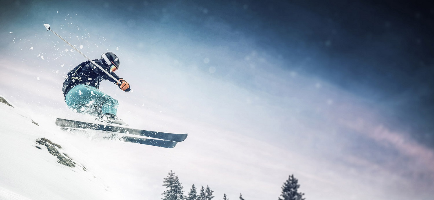 Skier jumping in the fresh snow